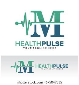 M Health Pulse Letter Logo Template Design Vector, Emblem, Design Concept, Creative Symbol, Icon