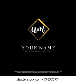 A M Initial abstract logo template vector