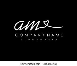 A M Initial handwriting logo vector