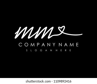 M M Initial handwriting logo vector