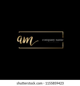 A M Initial handwriting logo vector. Hand lettering for designs.
