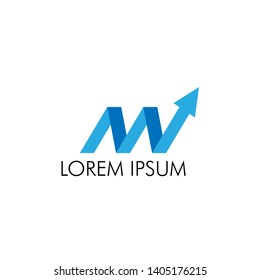 M initial letter with arrow for business logo icon