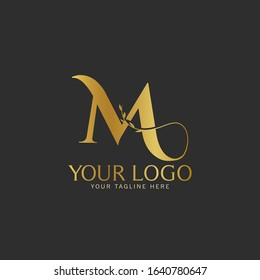 M Initial letter Gold Logo Icon classy gold letter suitable for boutique restaurant wedding service hotel or business identity.