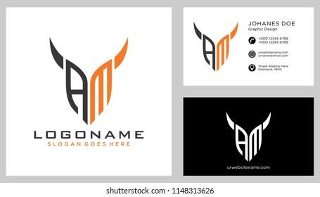A M initial logo template vector