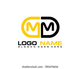M M initial logo template vexctor