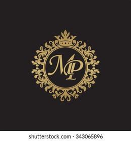 M initial luxury ornament monogram logo