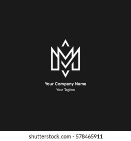M initial monogram negative space