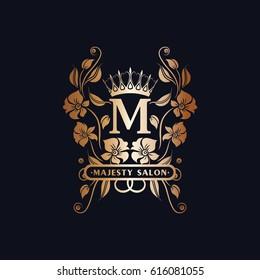 m initials logo floral with  crown. vintage design