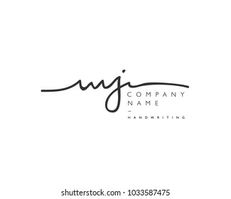 M J Initial handwriting logo