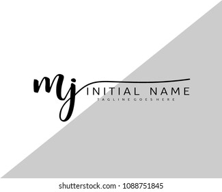 M J Initial handwriting logo vector. Hand lettering for designs.