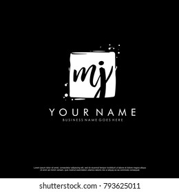 M J initial square logo template vector