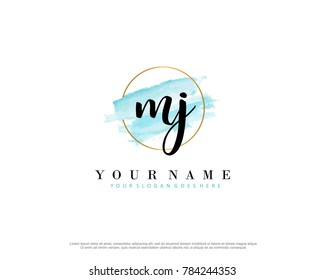 M J Initial water color logo template vector