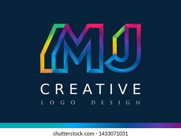 M J Logo. MJ Letter Design Vector with Magenta blue and green yellow color
