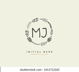 M J MJ Beauty vector initial logo, handwriting logo of initial wedding, fashion, jewerly, heraldic, boutique, floral and botanical with creative template for any company or business.