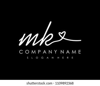 M K Initial handwriting logo vector