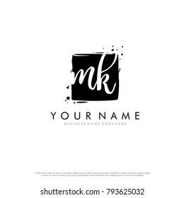M K initial square logo template vector