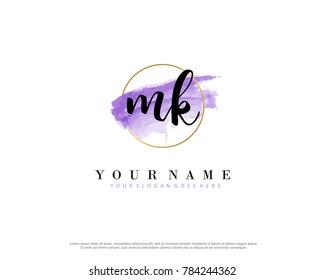 M K Initial water color logo template vector