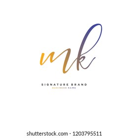 M K MK Initial letter handwriting and  signature logo concept design