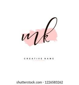 M K MK Initial logo template vector