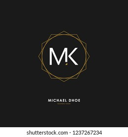 M K MK Initial logo letter with minimalist concept. Vector with scandinavian style logo.