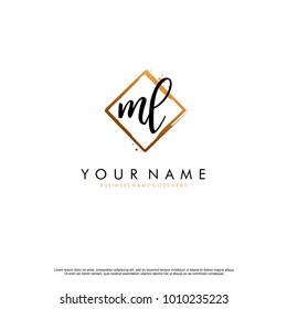 M L Initial abstract logo template vector