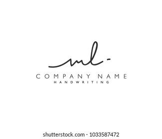 M L Initial handwriting logo
