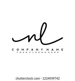 M L Initial handwriting logo vector