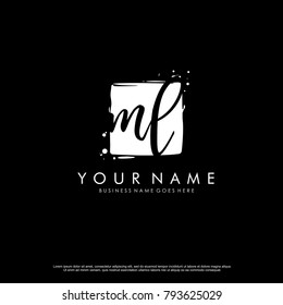 M L initial square logo template vector