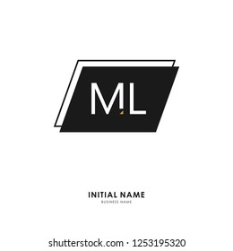 M L ML Initial logo letter with minimalist concept. Vector with scandinavian style logo.