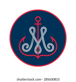 M letter with an anchor and rope vector vintage label, logo, icon design template element. This badge can be used as trademark or a print on fabric.