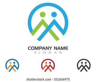 M Letter Business corporate abstract unity vector logo design template