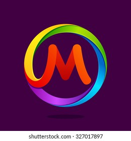 M letter colorful logo in the circle. Vector design template elements for your application or corporate identity.