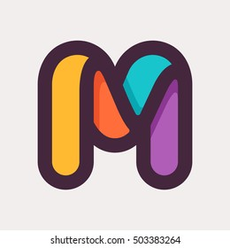 M letter colorful logo. Flat style design. Creative typographic elements for posters, t-shirts and cards.