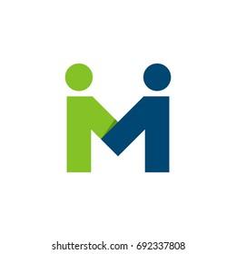 M Letter Couple Man Letter Logo Template