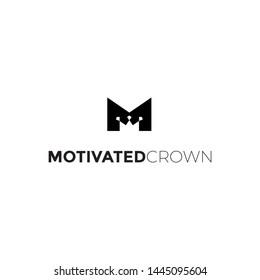 M letter crown king logo vector icon illustration
