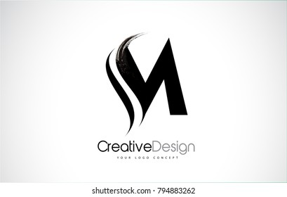 M Letter Design Brush Paint Stroke. Letter Logo with Black Paintbrush Stroke.