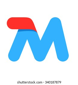 M letter with fast speed line. Design template elements for your application or corporate identity.