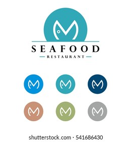 M Letter Fish Logo Template
