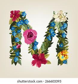 M Colorful Flower Letter Images, Stock Photos & Vectors