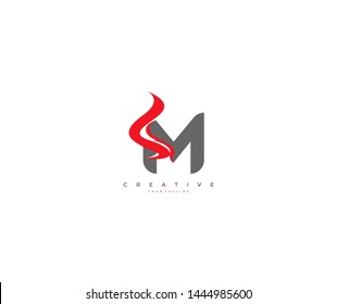 M letter gray color with flame element logo