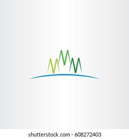 m letter green mountain icon