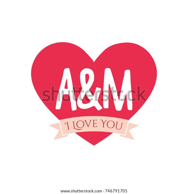 M Letter Inside Heart St Valentines Stock Vector (Royalty
