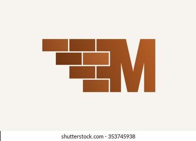 M letter Logo, brick wall logo design.