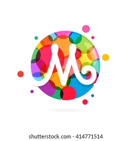 M letter logo in circle with rainbow dots. Font style, vector design template elements for your application or corporate identity.