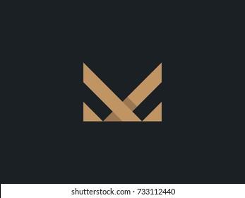 M Letter Logo concept. Creative Line Minimal Monogram emblem design template. Universal elegant icon. Premium Graphic Alphabet Symbol for Corporate Business Identity. Vector element