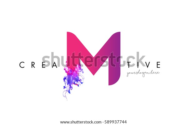 M Letter Logo Design with Ink Cloud Flowing Texture and Purple Colors.