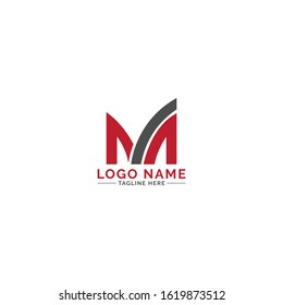 M letter logo design vector with 2 color