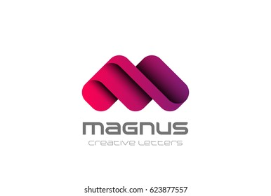M Letter Logo design vector template. Creative character friendly corporate style Logotype.