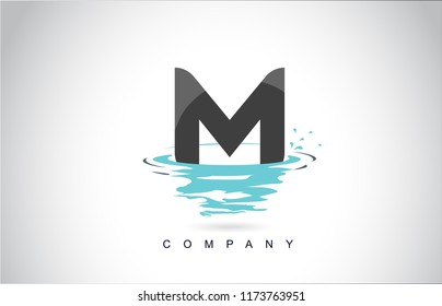 M Letter Logo Design with Water Splash Ripples Drops Reflection Vector Icon Illustration.