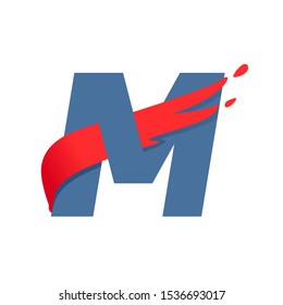 M letter logo with fast speed red flag line. Font style, delivery, sports etc vector design template elements.